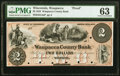Obsoletes By State:Wisconsin, Waupacca, WI- Waupacca County Bank $2 June 15, 1858 G4a Krause G4a Proof PMG Choice Uncirculated 63.. .....