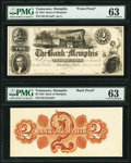 Memphis, TN- Bank of Memphis $2 Sep. 1, 1853 as G4a as Garland 549 Face and Back Proofs PMG Choice Uncirculated 63...