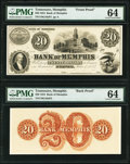 Memphis, TN- Bank of Memphis $20 June 1, 1854 as G10a as Garland 554 Face and Back Proofs PMG Choice Uncirculated 64...