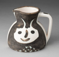 Pablo Picasso (1881-1973) Têtes, 1959 White earthenware ceramic pitcher painted in white and black w