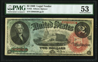 Fr. 42 $2 1869 Legal Tender PMG About Uncirculated 53