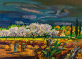 Paintings, Millard Sheets (American, 1907-1989). French Farm with Fruit Orchard, 1967. Acrylic on paper (sheet). 29 x 41 inches (73...