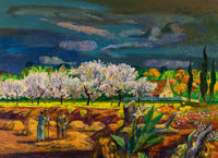 Millard Sheets (American, 1907-1989) French Farm with Fruit Orchard, 1967 Acrylic on paper (sheet)