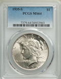 Peace Dollars: , 1935-S $1 MS64 PCGS. PCGS Population: (1651/982). NGC Census: (920/462). CDN: $485 Whsle. Bid for NGC/PCGS MS64. Mintage 1,...