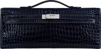 Hermès Shiny Blue Marine Porosus Crocodile Kelly Cut Clutch with Palladium Hardware R Square, 2014 <