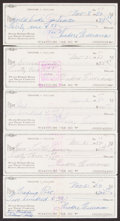 Autographs:Others, Ted Williams Signed Checks, Lot of 5....