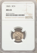 Three Cent Nickels: , 1865 3CN MS65 NGC. NGC Census: (140/24). PCGS Population: (137/62). CDN: $365 Whsle. Bid for NGC/PCGS MS65. Mintage 11,382,...