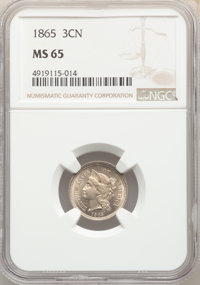 1865 3CN MS65 NGC. NGC Census: (140/24). PCGS Population: (137/62). CDN: $365 Whsle. Bid for NGC/PCGS MS65. Mintage 11,3...