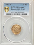 Liberty Quarter Eagles, 1846-D $2 1/2 -- Repaired -- PCGS Genuine. VG Details. Mintage 19,303....