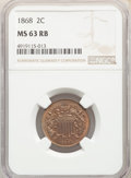 1868 2C MS63 Red and Brown NGC. NGC Census: (25/189). PCGS Population: (99/273). CDN: $230 Whsle. Bid for NGC/PCGS MS63...