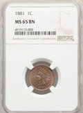 Indian Cents: , 1881 1C MS65 Brown NGC. NGC Census: (31/3). PCGS Population: (27/3). CDN: $260 Whsle. Bid for NGC/PCGS MS65. Mintage 39,211...
