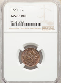 1881 1C MS65 Brown NGC. NGC Census: (31/3). PCGS Population: (27/3). CDN: $260 Whsle. Bid for NGC/PCGS MS65. Mintage 39...