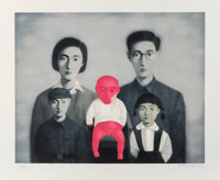 Zhang Xiaogang (b. 1958) Bloodline: The Big Family (five works), 2006 Lithographs in colors on Arche