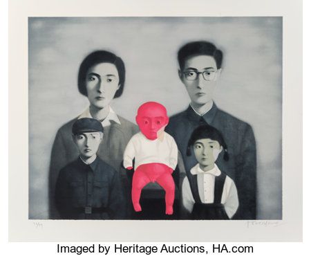 Zhang Xiaogang (b. 1958) Bloodline: The Big Family (five works), 2006 Lithographs in colors on Arches paper 42-1/4 x ... (Total: 5 Items)