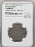 1787 FUGIO Fugio Cent, STATES UNITED, Eight-Pointed Stars, -- Environmental Damage -- NGC Details. VG. ...(PCGS# 898)