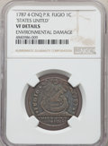 1787 CENT Fugio Cent, STATES UNITED, 4 Cinquefoils, Pointed Rays, -- Environmental Damage -- NGC Details. VF
