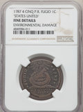 Colonials, 1787 CENT Fugio Cent, STATES UNITED, 4 Cinquefoils, Pointed Rays, -- Environmental Damage -- NGC Details. Fine. ...
