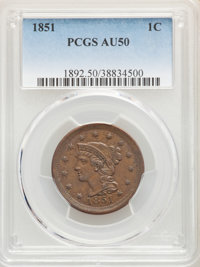 1851 1C AU50 PCGS. PCGS Population: (73/852). NGC Census: (42/797). CDN: $110 Whsle. Bid for NGC/PCGS AU50. Mintage 9,88...