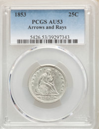1853 25C Arrows and Rays AU53 PCGS. PCGS Population: (115/741). NGC Census: (63/700). CDN: $230 Whsle. Bid for NGC/PCGS...