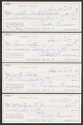 Autographs:Others, Ted Williams Signed Checks, Lot of 4....