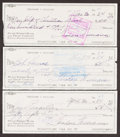 Autographs:Checks, Ted Williams Signed Checks, Lot of 3....