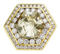 Estate Jewelry:Rings, Gentleman's Fancy Light Brownish-Greenish-Yellow Diamond, Diamond, Gold Ring. ...