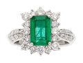 Estate Jewelry:Rings, Emerald, Diamond, Platinum Ring The ring feat...
