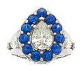 Estate Jewelry:Rings, Diamond, Sapphire, Platinum Ring The ring feat...
