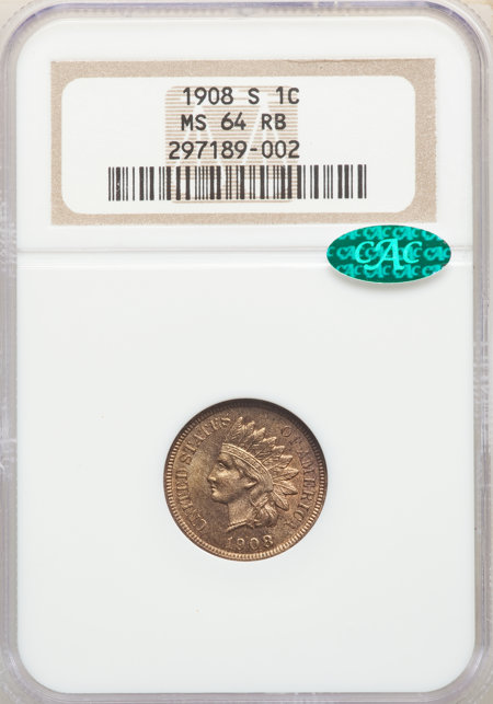 1908-S 1C, RB CAC 64 NGC