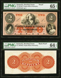 Bowling Green, KY- Peoples Bank of Kentucky $2 18__ G34a as Hughes 73 Face and Back Proofs PMG Gem Uncirculated 65 EPQ;...
