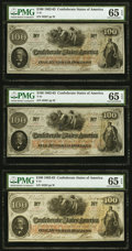 T41 $100 1862 Cr. 317A (2), Cr. UNL PMG Gem Uncirculated 65 EPQ. Three Examples. ... (Total: 3 notes)