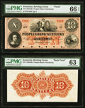 Bowling Green, KY- Peoples Bank of Kentucky $10 18__ G40a as Hughes 78 Face and Back Proofs PMG Gem Uncirculated 66 EPQ;...