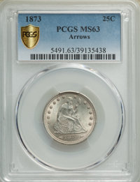 1873 25C ARROWS MS63 PCGS. PCGS Population: (25/59 and 0/5+). NGC Census: (28/44 and 1/1+). CDN: $850 Whsle. Bid for NGC...