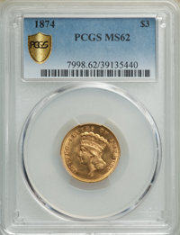 1874 $3 MS62 PCGS. PCGS Population: (312/297 and 6/15+). NGC Census: (224/179 and 3/8+). CDN: $1,800 Whsle. Bid for NGC/...