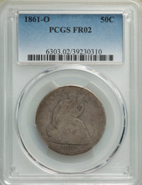 1861-O 50C Fair 2 PCGS. This lot will also include the following: 1873 50C Arrows Fair 2 PCGS; and a 1875-S 50C