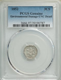 1852 3CS -- Environmental Damage -- PCGS Genuine. Unc Details. Mintage 18,663,500. ...(PCGS# 3666)