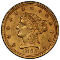 1855 $2 1/2 MS63 PCGS. PCGS Population: (34/21 and 0/4+). NGC Census: (21/20 and 1/0+). CDN: $1,600 Whsle. Bid for NGC/P...