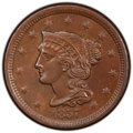 1857 1C Small Date MS64 Brown PCGS. CAC. PCGS Population: (34/7 and 3/0+). NGC Census: (0/0 and 0/0+). CDN: $950 Whsle...