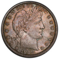 1908-D 50C MS65 PCGS. CAC. PCGS Population: (31/13 and 1/6+). NGC Census: (18/7 and 0/0+). CDN: $1,800 Whsle. Bid for NG...