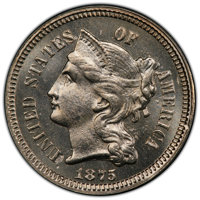 1875 3CN MS65 PCGS. PCGS Population: (32/32 and 2/5+). NGC Census: (40/18 and 0/1+). CDN: $650 Whsle. Bid for NGC/PCGS M...