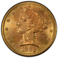 1882-S $5 MS64+ PCGS. PCGS Population: (185/21 and 22/1+). NGC Census: (184/30 and 9/3+). CDN: $700 Whsle. Bid for NGC/P...