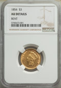 Three Dollar Gold Pieces: , 1854 $3 -- Bent -- NGC Details. AU. Mintage 138,618. ...