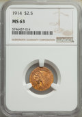 Indian Quarter Eagles: , 1914 $2 1/2 MS63 NGC. NGC Census: (851/448). PCGS ...