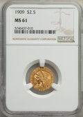 Indian Quarter Eagles: , 1909 $2 1/2 MS61 NGC. NGC Census: (1573/4424). PCG...