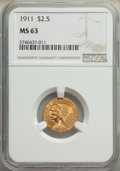 Indian Quarter Eagles: , 1911 $2 1/2 MS63 NGC. NGC Census: (1887/1319). PCG...