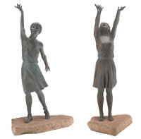 Glenna Goodacre (American, 1939-2020) Naiads (Two of the Four works), 1989 Bronze with green patina
