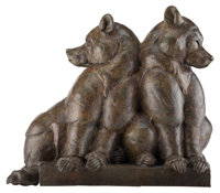 Dan Ostermiller (American, b. 1956) Bear Pause, 1998 Bronze with brown patina 37 inches (94.0 cm)