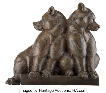 Dan Ostermiller (American, b. 1956) Bear Pause, 1998 Bronze with brown patina 37 inches (94.0 cm) high Ed. 12/12 In...