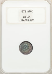 1872 H10C MS66 NGC. NGC Census: (12/4). PCGS Population: (14/2). CDN: $1,250 Whsle. Bid for NGC/PCGS MS66. Mintage 2,947...