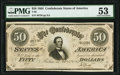 Confederate Notes:1864 Issues, Engraving Error T66 $50 1864 PF-20 Cr. UNL PMG About Uncirculated 53.. ...